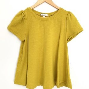 Anthropologie | Eri + Ali citrus green blouse
